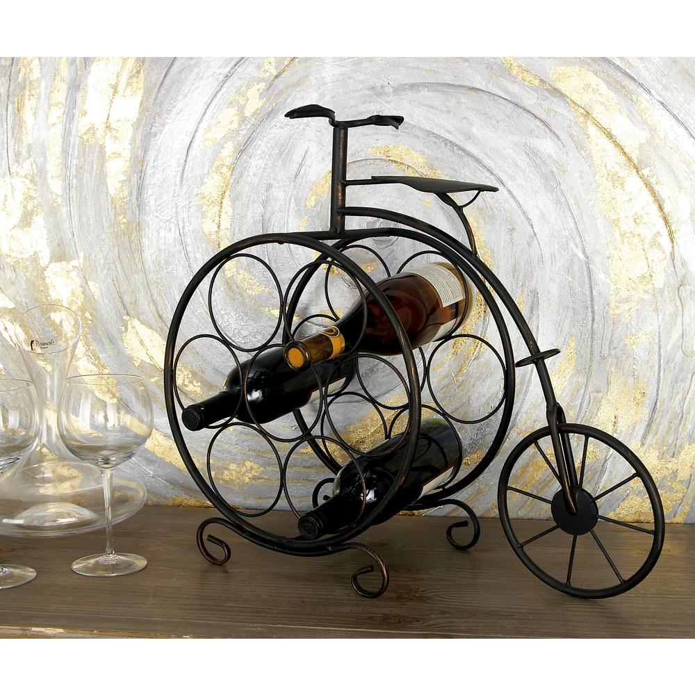 Litton Lane Brass Brown Penny Farthing Bike 8-Bottle Wine Rack