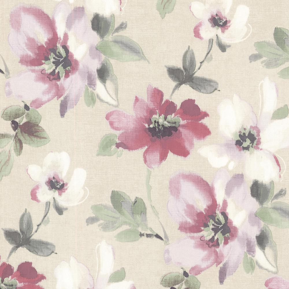 Brewster 56 4 Sq Ft Lynette Violet Watercolour Floral Wallpaper