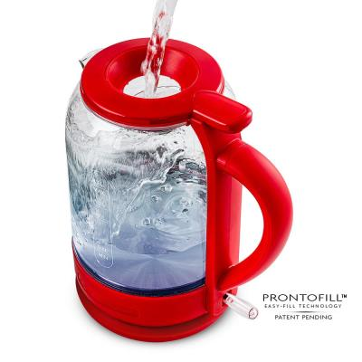 6.3-Cup Red Glass Electric Kettle with ProntoFillTM Technology-Fill Up with Lid On