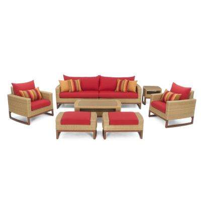 Mili 8-Piece Wicker Patio Deep Seating Conversation Set with Sunbrella Sunset Red Cushions