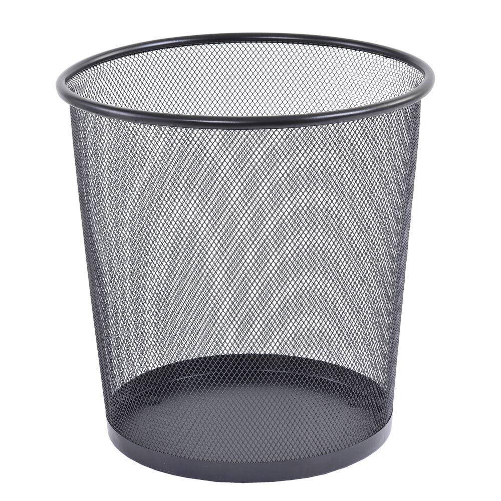 Buddy Products 10.5 in. Round Black Steel Mesh Wastepaper Basket