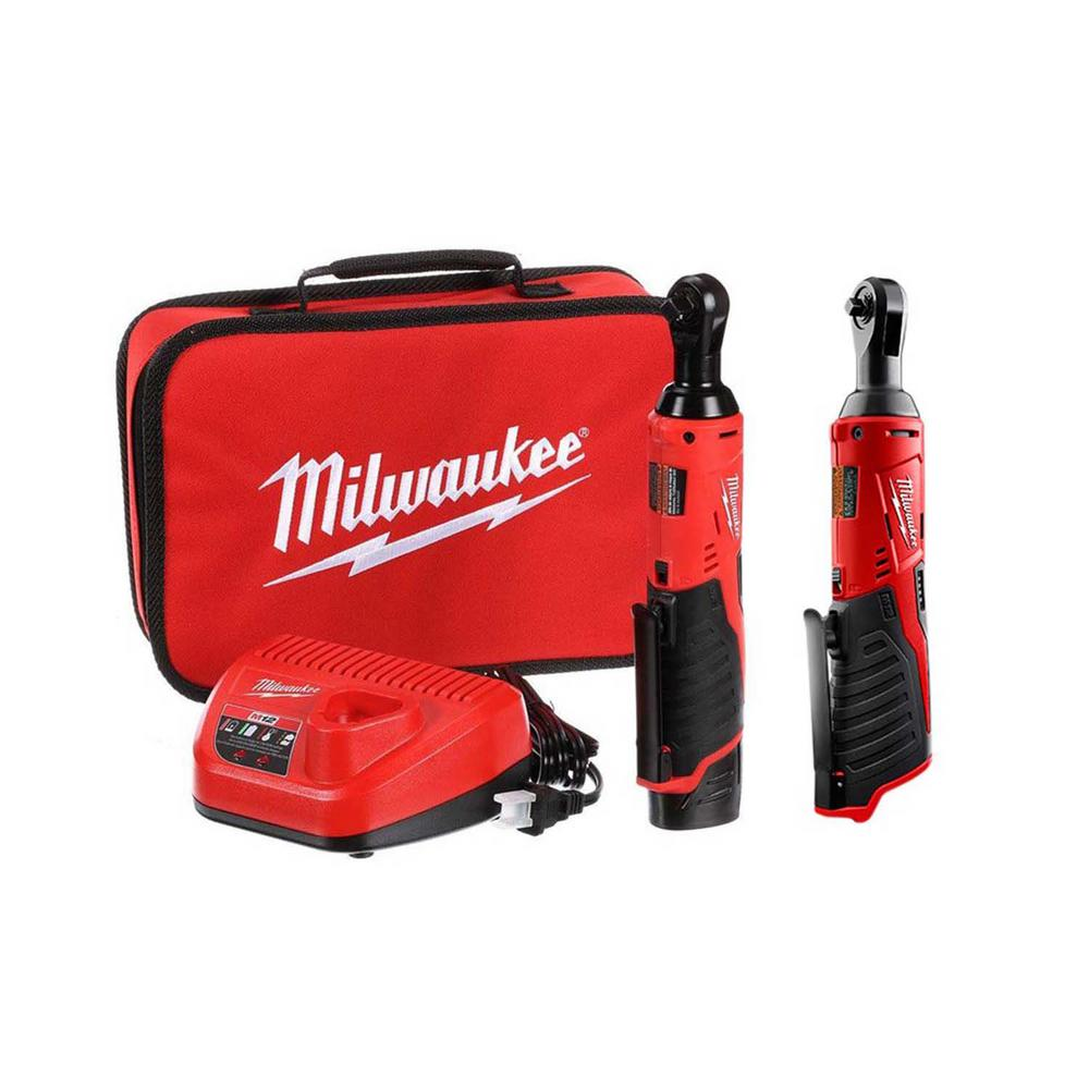 Milwaukee M12 12-Volt Lithium-Ion Cordless 3/8 in. and 1/4 in. Ratchet Kit (2-Tool) with Battery, Charger and Bag