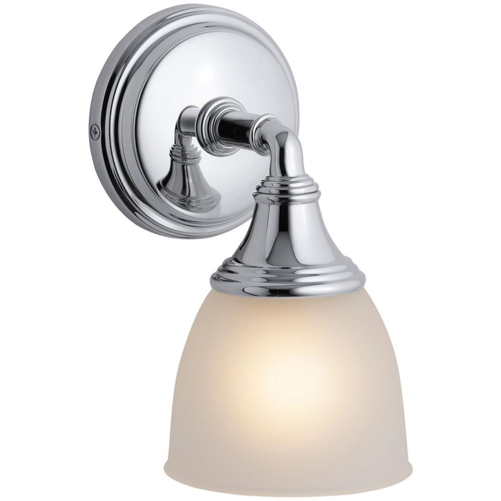 kohler bathroom lights kohler devonshire 1 light polished chrome wall sconce k 13380