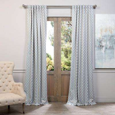Semi-Opaque Casablanca Teal Blackout Curtain - 50 in. W x 96 in. L (Panel)