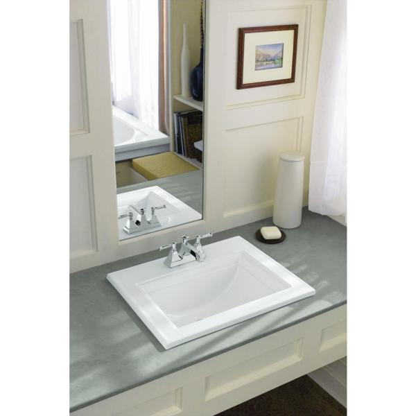 Kohler Memoirs Stately Drop In Vitreous China Bathroom Sink In White With Overflow Drain K 2337 4 0 The Home Depot
