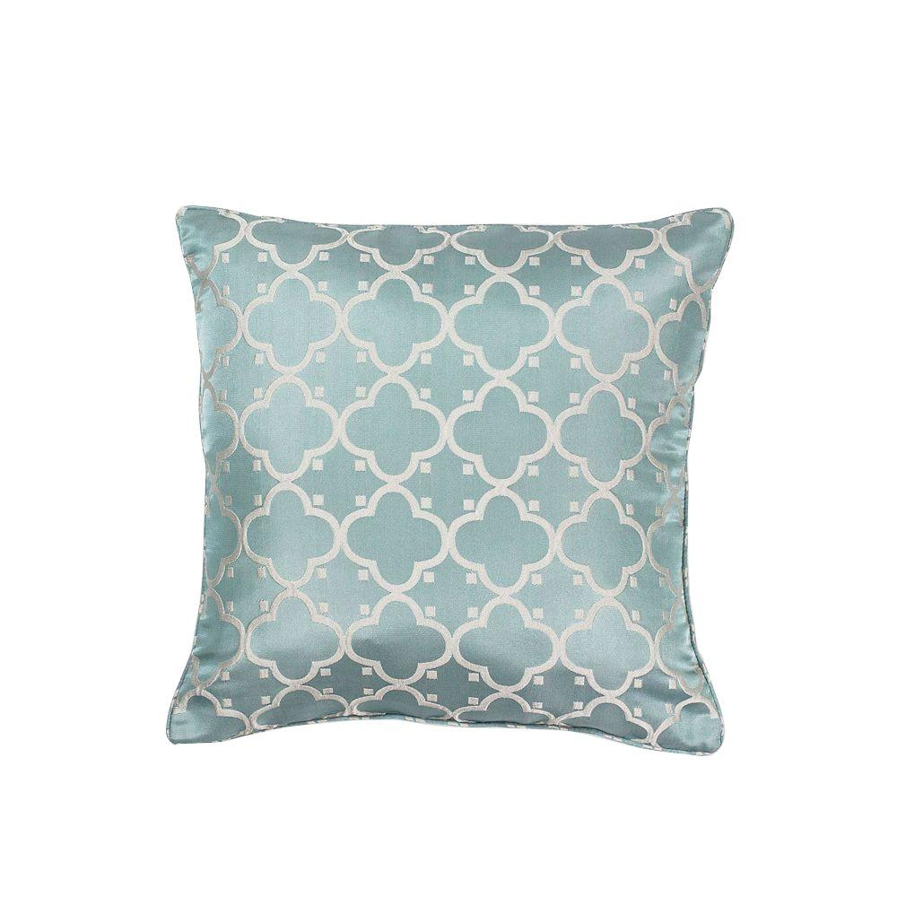 Fresh \u0026 Cool Light Blue Geometric Hypoallergenic Polyester 18 in. x 18 in.  Throw Pillow