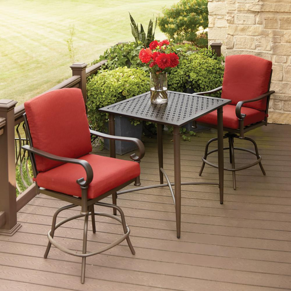 Hampton Bay Oak Cliff 3 Piece Metal Outdoor Balcony Height Bistro Set With  Chili Cushions