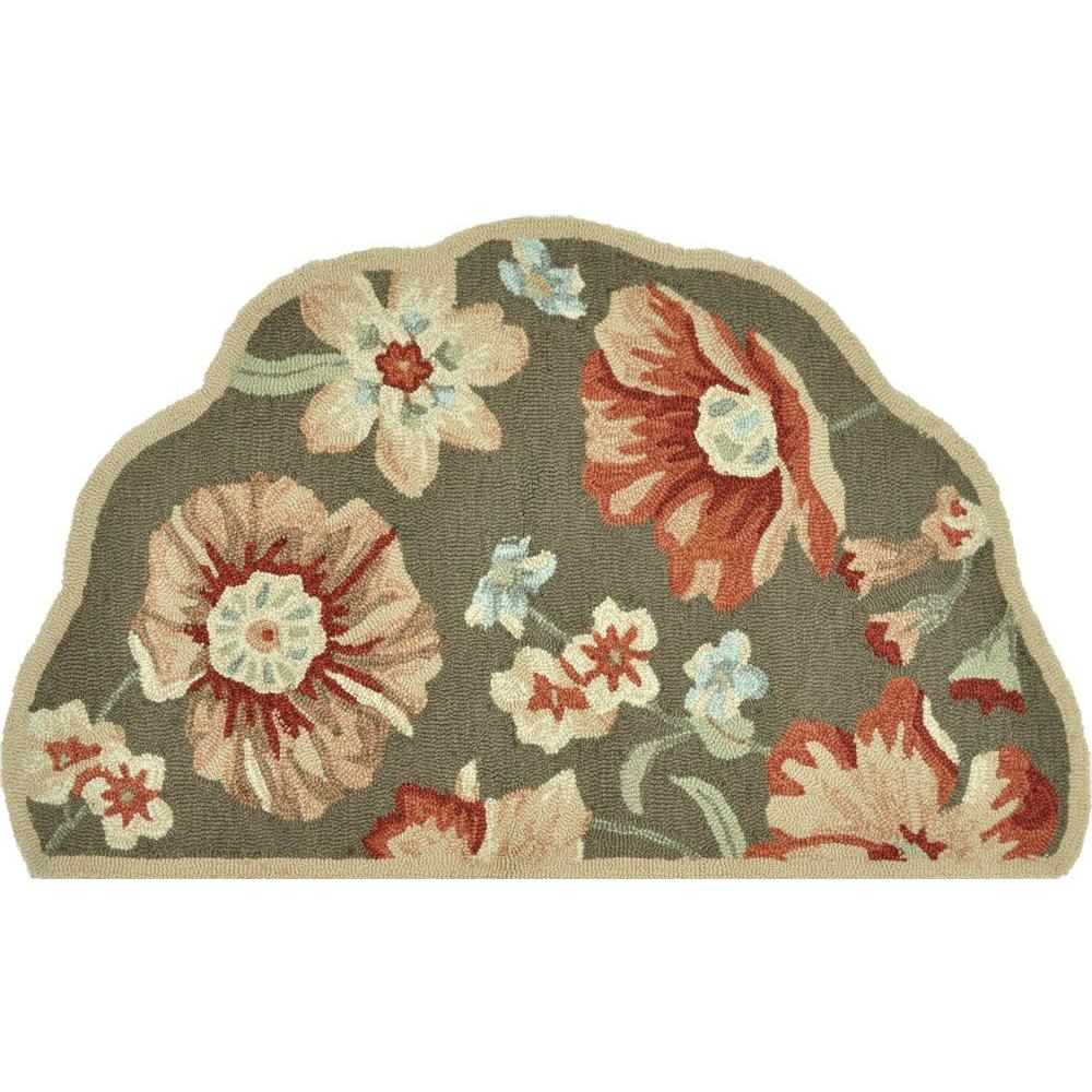 Loloi Rugs Summerton Life Style Collection Light Brown Rust 2 ft. 3 in. x 3 ft. 9 in. Scalloped Hearth Area Rug-DISCONTINUED