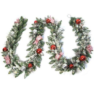 12 ft. Pre-Lit Artificial Frosted Garland with 100 Warm White LED Light