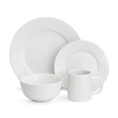 40-Piece White Saturn Embossed Dinnerware Set