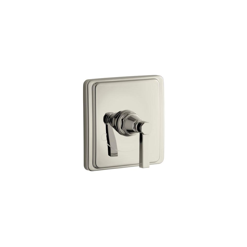 KOHLER Pinstripe Pure 1-Handle Thermostatic Valve Trim Kit in Vibrant Polished Nickel with Lever Handle (Valve Not Included)