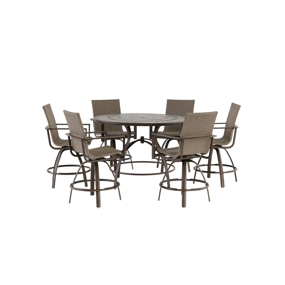 Hampton Bay Beckham 7 Piece Outdoor Balcony Height Dining Set