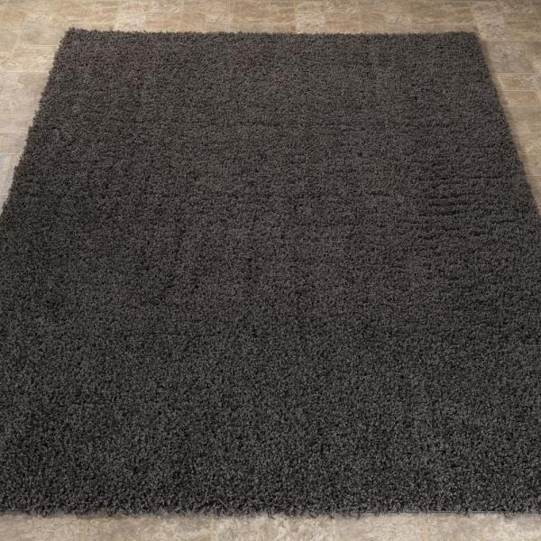 Ottomanson Contemporary Solid Dark Grey 8 Ft X 10 Ft Shag Area Rug Shg2764 8x10 The Home Depot