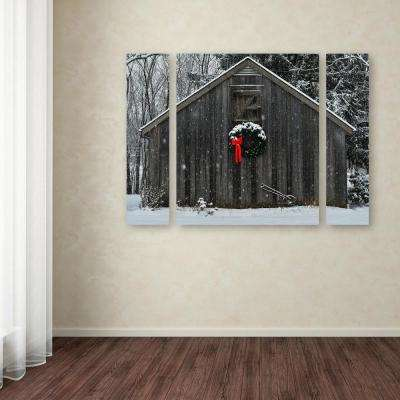 """30 in. x 41 in. """"Christmas Barn in the Snow"""" by Kurt Shaffer Printed Canvas Wall Art"""