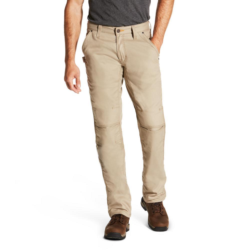 Men's Size 38x32 Khaki Rebar Workhorse M4 Bootcut Work Pant