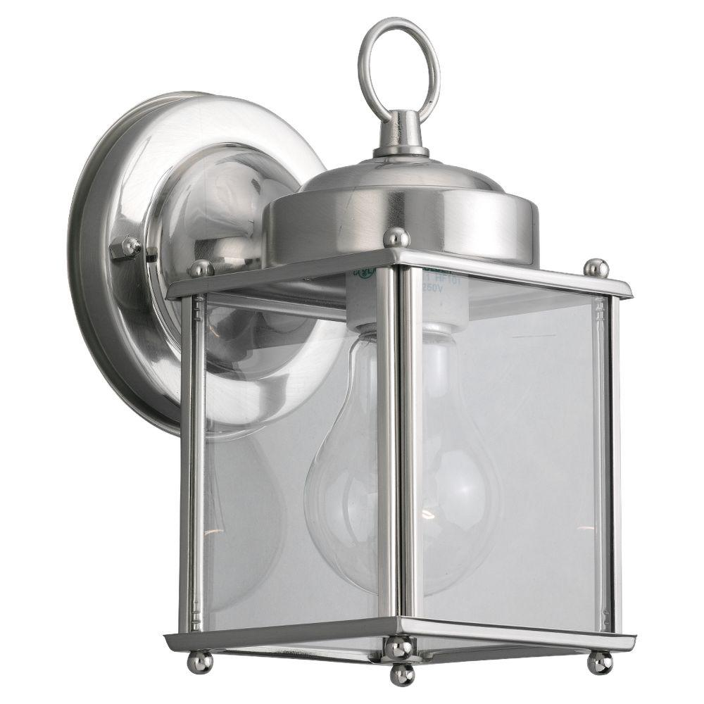 Sea Gull Lighting New Castle 1-Light Antique Brushed Nickel Outdoor Wall Fixture
