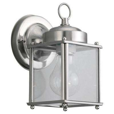 Jamestowne 7 in. W 2-Light Black Outdoor Wall Mount Lantern with Clear Beveled Glass