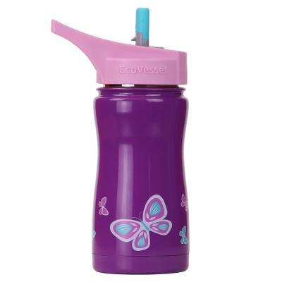 13 oz. Frost Kids Insulated Bottle with Straw Top - Purple with Butterfly