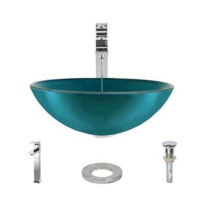 Glass Vessel Sink in Cerulean with R9-7003 Faucet and Pop-Up Drain in Chrome