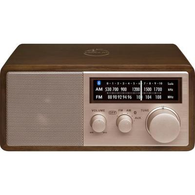 AM/FM/Bluetooth Dark Walnut Wood Cabinet Radio with Rose Gold Face Plate and USB Charging Port