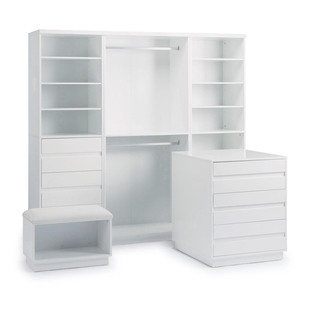 Linear 6-Drawer White Storage 4-Piece Unit