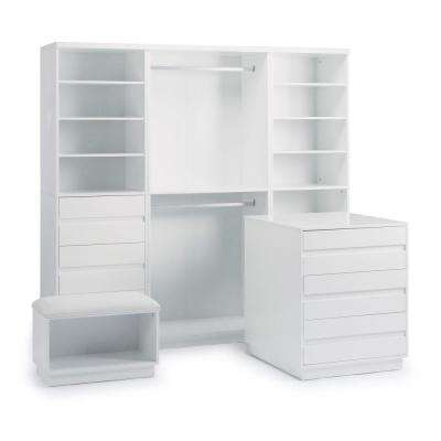 Linear 6-Drawer White Storage 4-Piece Unit