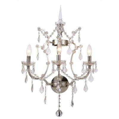 Elena 3-Light Polished Nickel Royal Cut Crystal Clear Sconce