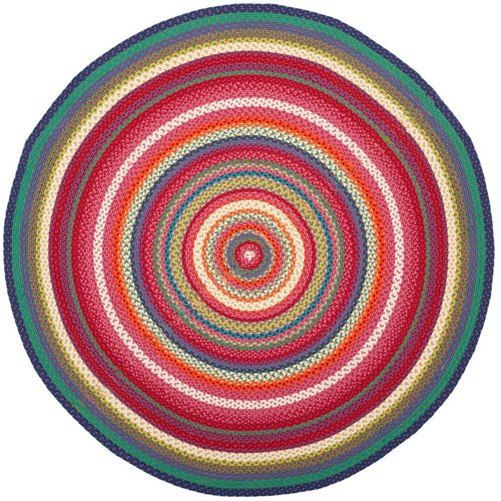 Safavieh Braided Multi 3 Ft X 3 Ft Round Area Rug Brd316a 3r The