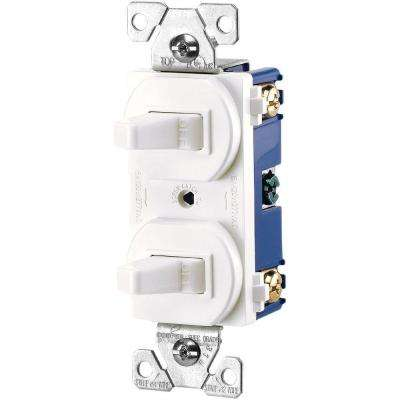 Commercial Grade 15 Amp Combination Single Pole Toggle Switch and 3-Way Switch, White