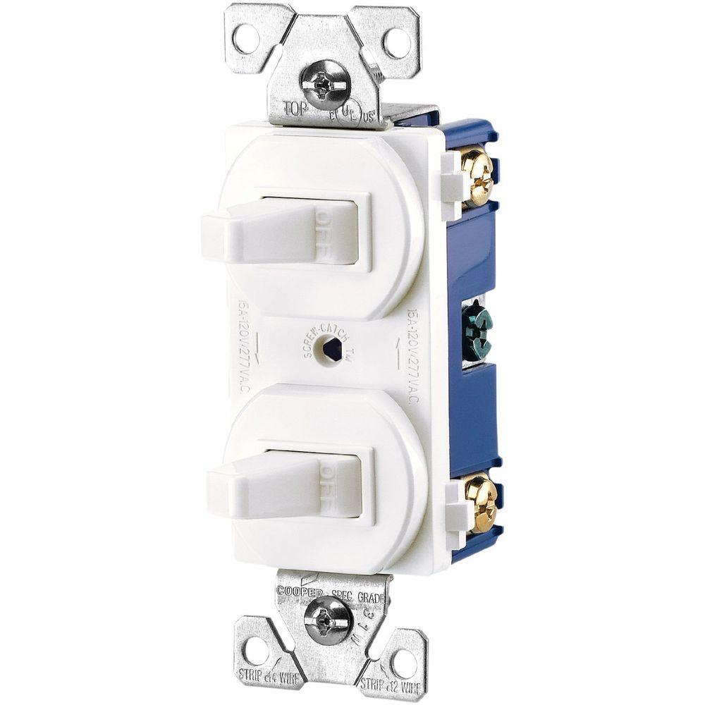 Eaton Commercial Grade 15 Amp Combination Single Pole Toggle Switch and 3-Way Switch, White