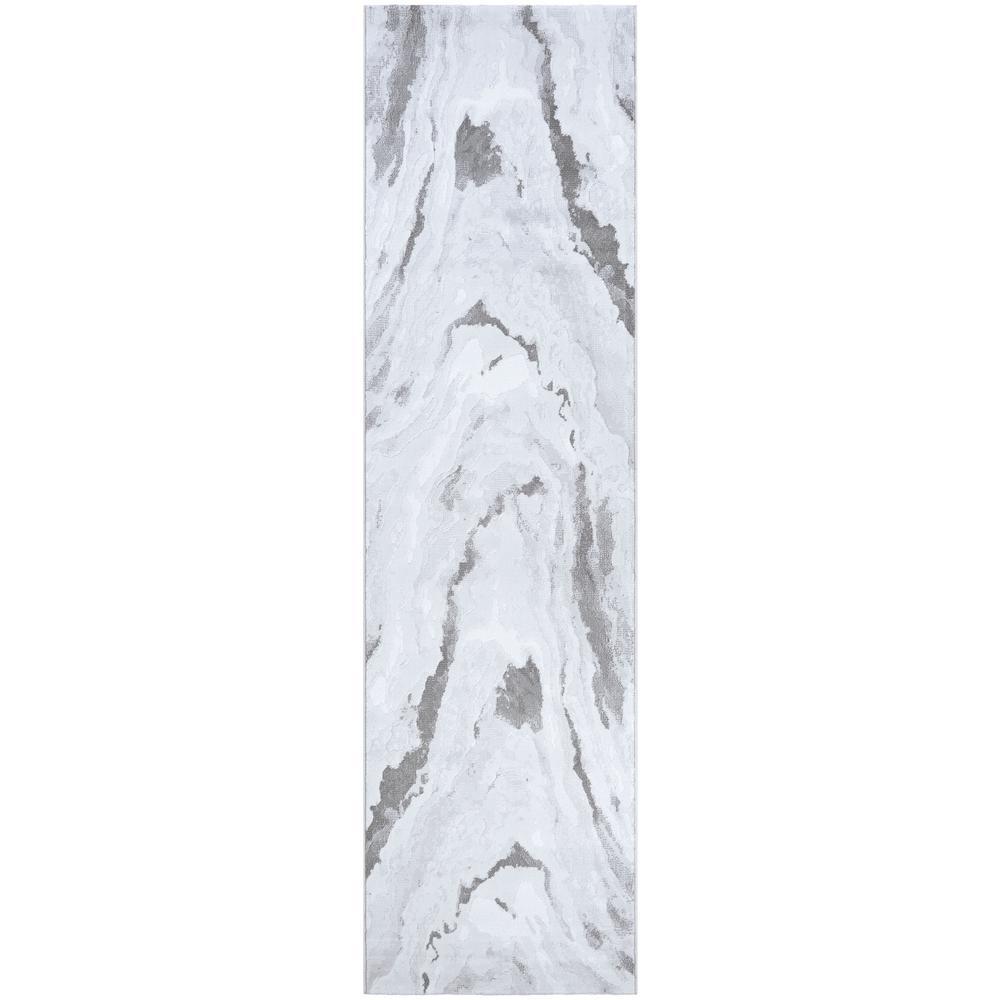 Serenity Abstract Marble Opal-Mushroom 2 ft. x 8 ft. Runner Rug