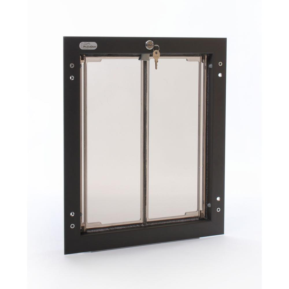 PlexiDor Performance Pet Doors 11.75 in. x 16 in. Large Bronze Wall Mount Dog Door Requires No Replacement Flap