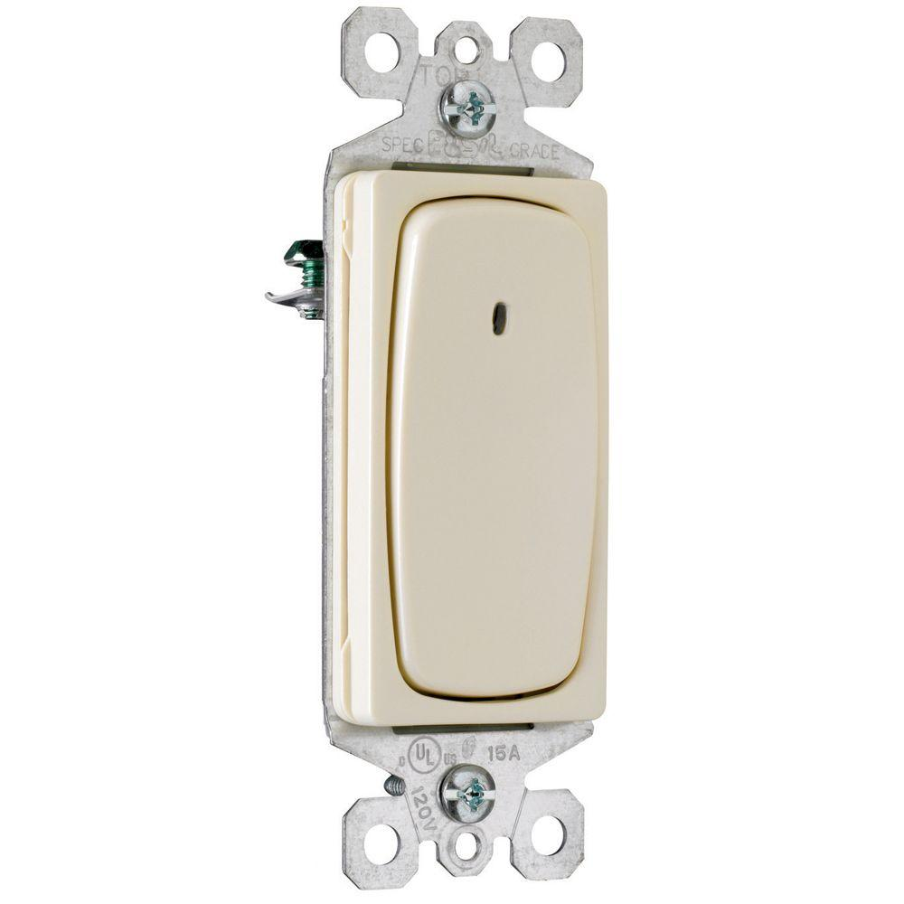 Pass & Seymour 15 Amp 3-Way Signature Lighted Switch light almond-DISCONTINUED