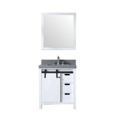 Marsyas 30 in. Single Bath Vanity in White w/ Grey Quartz Top w/ White Square Sink and 28 in. Mirror