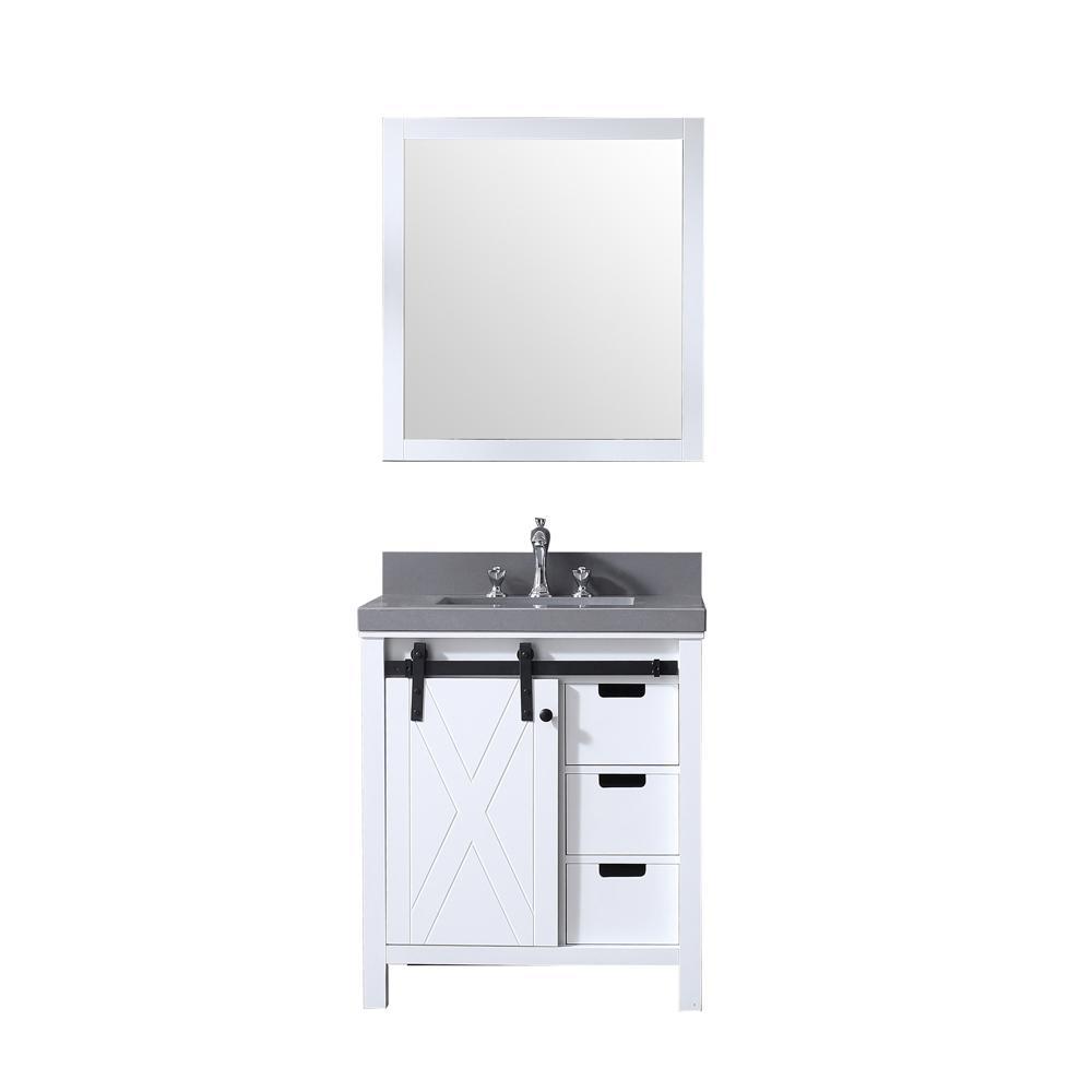 Marsyas 30 in. Single Bath Vanity in White w/ Grey Quartz Top w/ White Square Sink and 28 in. Mirror