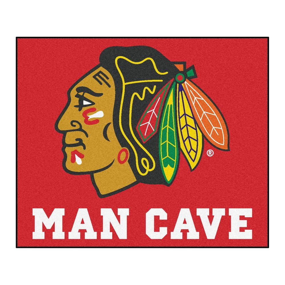 Fanmats Chicago Blackhawks Red Man Cave 5 Ft X 6 Ft Area