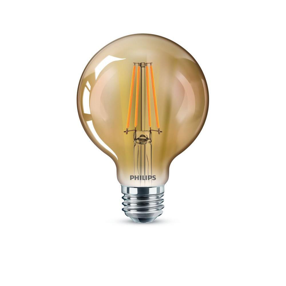 40-Watt Equivalent G25 Dimmable Vintage Glass Edison LED Globe Light Bulb Amber Warm White (2000K) (2-Pack)