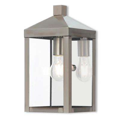 Nyack Collection 1-Light Brushed Nickel Outdoor Wall Mount Sconce