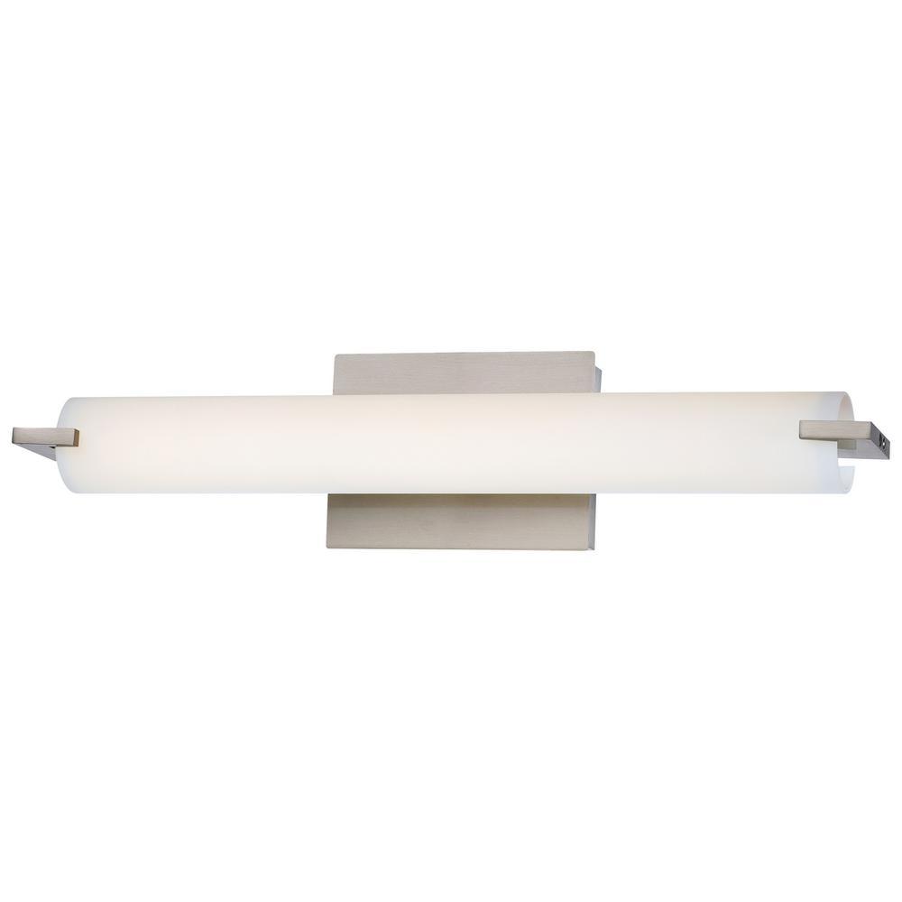 Tube 22-Watt Brushed Nickel Integrated LED Bath Wall Light