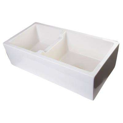 Smooth Farmhouse Apron Fireclay 36 in. Double Basin Kitchen Sink in Biscuit