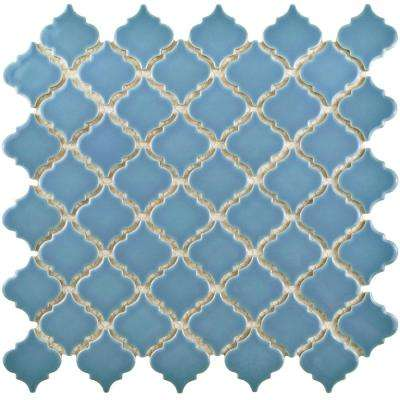 Hudson Tangier Light Blue 12-3/8 in. x 12-1/2 in. x 5 mm Porcelain Mosaic Tile