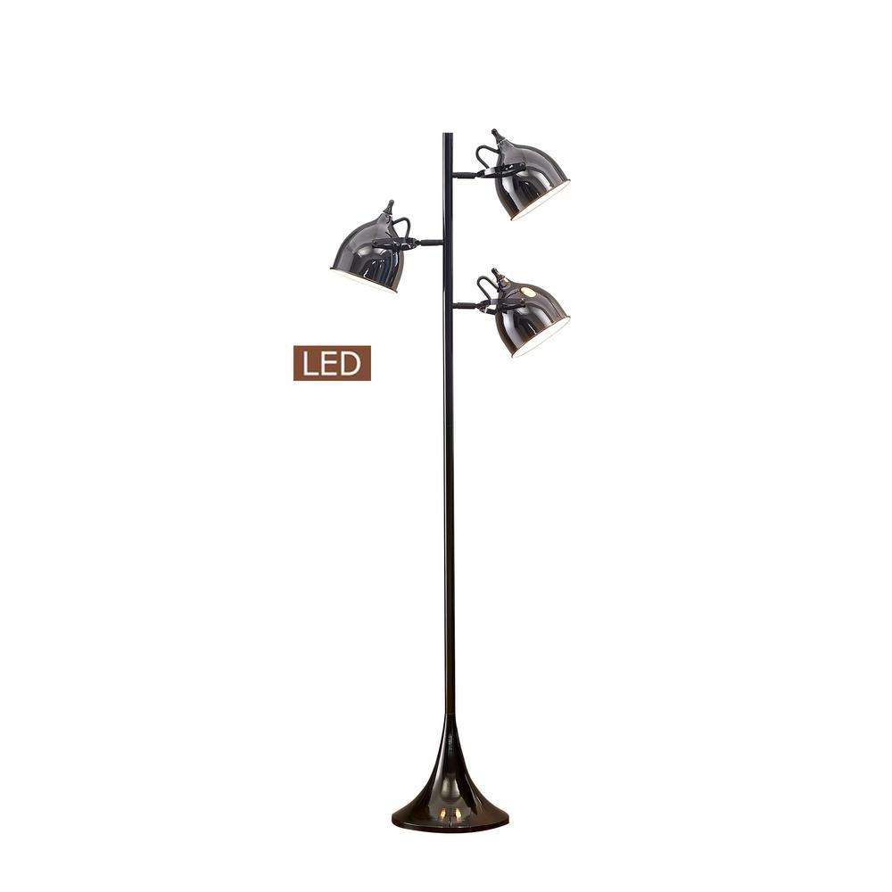 Caprice 64 in. Jet Black/Black Chrome LED Tree Floor Lamp