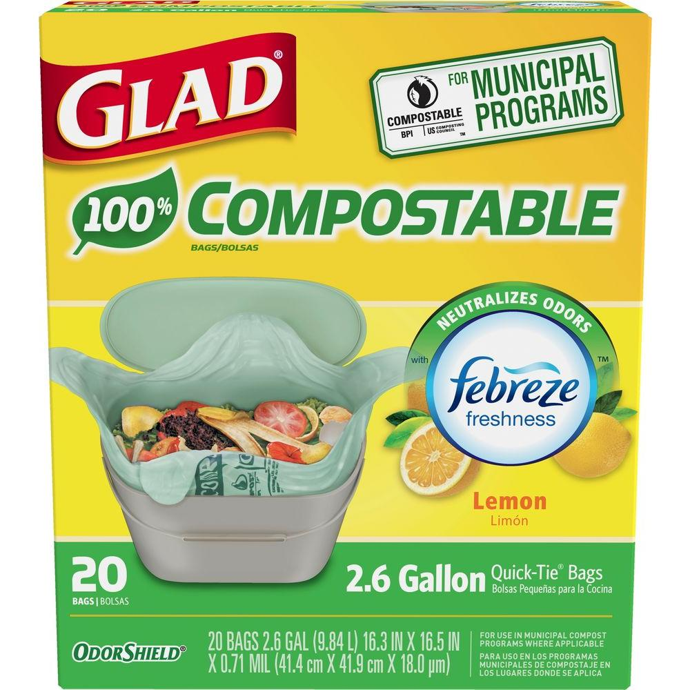 Glad 2 6 Gal Compole Lemon Odor Shield Trash Bags