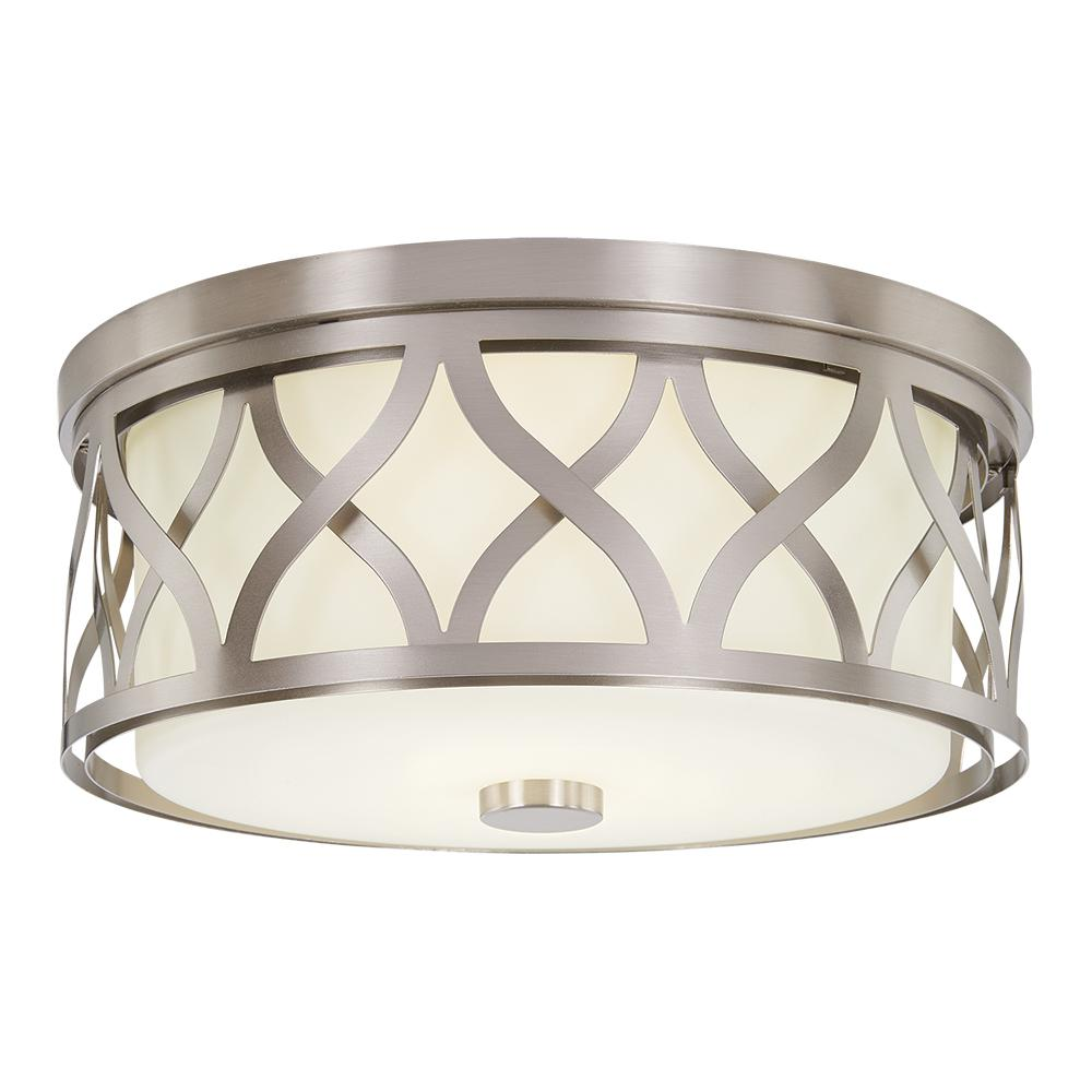 HomeDecoratorsCollection Home Decorators Collection 3-Light Brushed Nickel Flush Mount with Etched White Glass