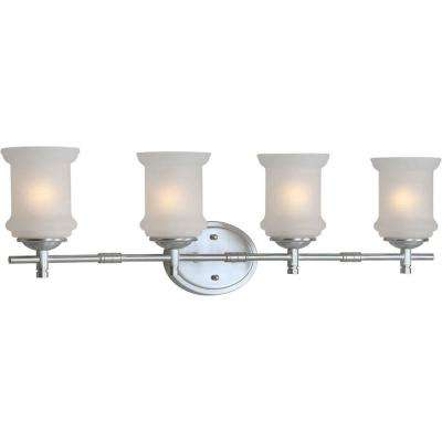 4-Light Brushed Nickel Bath Vanity Light with White Linen Glass