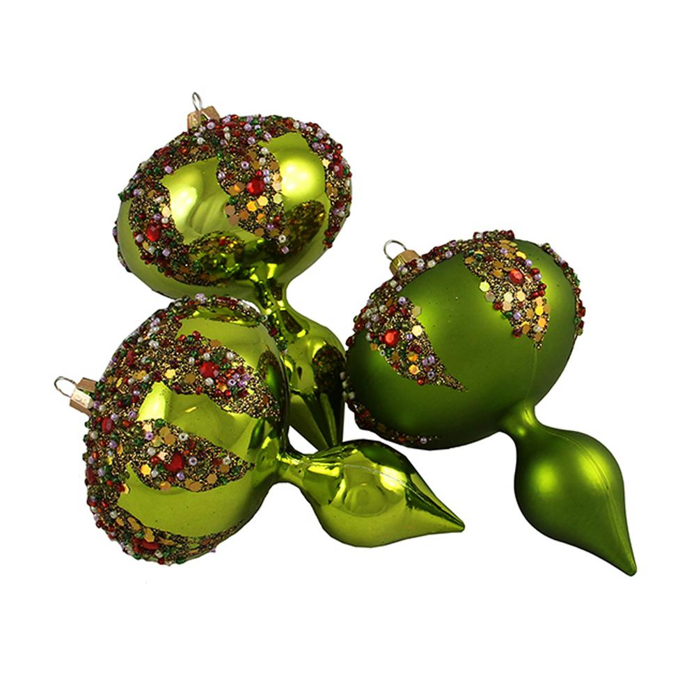 Barcana 5 In Lime Green Glitter Sequin Beaded Shatterproof Christmas Finial Ornaments 3 Count