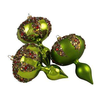 5 in. Lime Green Glitter Sequin Beaded Shatterproof Christmas Finial Ornaments (3-Count)