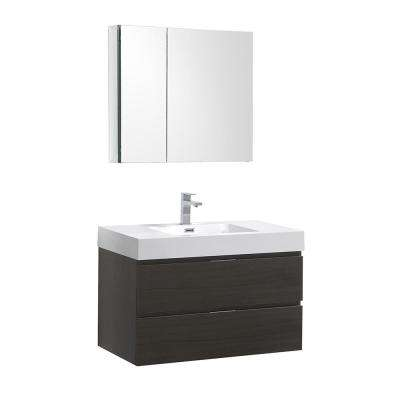 Valencia 36 in. W Wall Hung Vanity in Gray Oak with Acrylic Vanity Top in White with White Basin,Medicine Cabinet