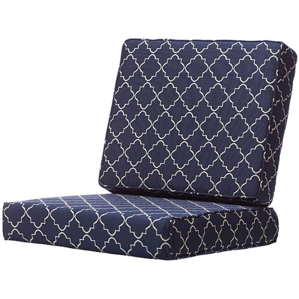 Home Decorators Collection St. Croix Olefin 25 in. x 46 in. Deep Seating Box-Edge Outdoor Chair Cushion