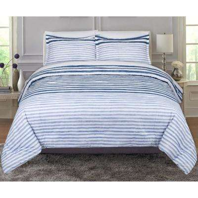 Layered Paint Stripes and Plaids Full and Queen Comforter Set